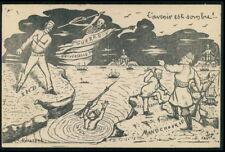 art Castor skull Map War Japan Russia Japanese Russian original 1900s postcard