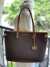 Michael Kors Women Leather PVC Large Shoulder Tote Bag Handbag Purse Brown Gold