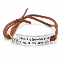 """She Believed She Could so She Did"" Bracelet Inspirational Sister Best Friend BF"
