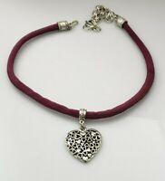 Vintage 1928 Silver Tone Puffy Heart Pendant Choker Necklace Mauve Fabric Cord