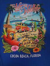 RON JON SURF COCA BEACH FL NO LIFE LIKE WILDLIFE WOODY SMALL BLUE T-SHIRT G1248