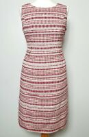 MONSOON (UK Size 14) Textured Cream & Red Ikat Aztec Pockets Summer Day Dress