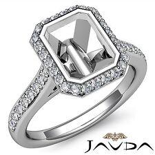 Diamond Engagement Ring 14k White Gold Emerald Halo Bezel Set 0.8Ct Semi Mount