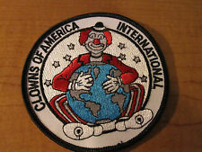 "CLOWNS Of AMERICA International Cloth Patch CLOWN 4"" Round Globe CIRCUS Patch"