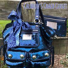 Coach Rare Dark Blue Poppy Sequin Spotlight Handbag! Sapphire Wristlet Bag Set