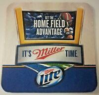 100 Miller Lite Football NFL Beer Logo Home Field Advantage Double Side Coasters