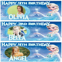 2 personalised birthday banner photo frozen children nursery kid party poster