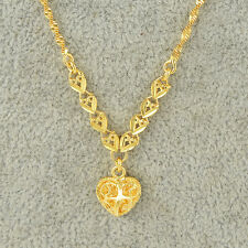 Womens Yellow Gold Filled Heart Pendant Water Wave Chain Necklace Korean