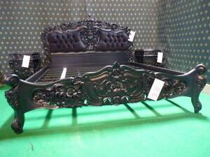 BESPOKE Matt Black Super King size 6' Gothic style upholstered Rococo Bedframe