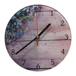 """Glas Wanduhr 20cm, randlos, Motiv: """" Flowers on Wood """" *116*"""