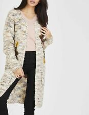 Women Ladies Open Front Long Knitted Floral Embroidery Sequin Cardigan Knitwear