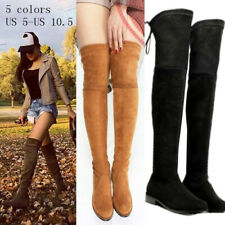 Women Winter Thigh High Boots Flat Heel Over the Knee Slim Leg Round Toe Booties