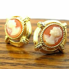 Costume Jewelry Earings Cameo Style Gold Tone PFP Framed Lady