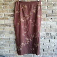 Giorgio Fiorlini Skirt Size 16W Linen Pencil Brown Long Slits Embroidered Modest