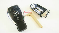 COMPATIBLE WITH MERCEDES BENZ key chrome fob 3 buttons A C E G S case shell #43N