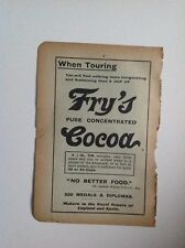 Fry's Pure Concentrated Cocoa, 1893, Antique Advert, Original