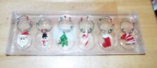Set Of 6 Handmade Glass Christmas Holiday Wine Glass Charms. New In Box