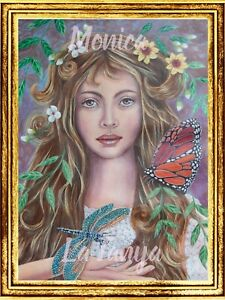 Woman with Dragonfly print A4 Inspiring Art by Monica LaTanya