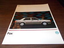 1989 Volkswagen Fox Sales Catalog