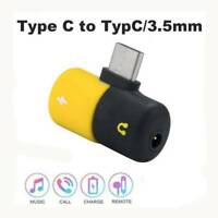 2 In 1 Mini Jack Extension Earphone Aux To 3.5mm Type-C Converter Adapter USB C