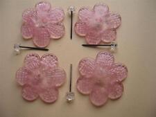 4 FLEURES CRISTAL  ROSE F78 cm 6 avec 4 CLOUS pour REPARER MIROIRS