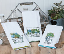 Garden Succulents 3 Assorted Flour Sack Towels