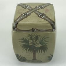 Tabletops Unlimited Bora CANISTER Small Handpainted Palm Tree Bamboo Tropical