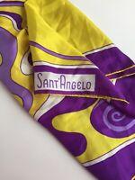 Vintage Giorgio Sant Angelo Silk Scarf Purple Gold Hand Rolled Mod Psychadelic