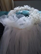 Bridal Veil Headpiece Netting Tiered With Pearl Accents