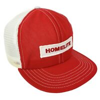 HOMELITE Chainsaw Vintage Trucker Hat Snap-Back Cap Made In USA Sewn Patch RED