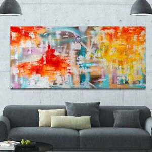 Abstract Splashes Extra Large Painting Panorama Expressionist Vibrant Wall Art