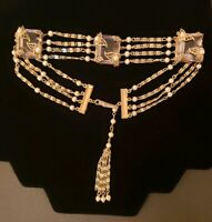 Miriam Haskell Victorian Revival Filigree Glass Seed Pearl Choker Necklace