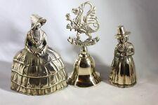 """Antique 12.5"""" Brass Bell Lot x3 Dinner, Servant, & Souvenir bells All nice!"""