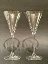 """Grey Goose Long Stemmed Martini Glasses, Set of 2, Etched Clear Glass 7.5"""" Tall"""