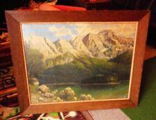 Willy Hanft Fjordansicht Kunstdruck alter Rahmen Eiche ca. 100 x 80 cm