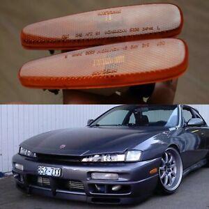 Oem 240sx S14 Bumper Amber Side Marker Turn INDICATOR Lights 200sx Kouki Zenki