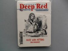 DEEP RED CLING RUBBER STAMPS ALICE WITH KITTENS NEW cling STAMP