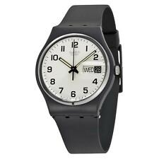 New Swatch Once Again Originals Day Date Mid-size Black Plastic Watch 34mm GB743