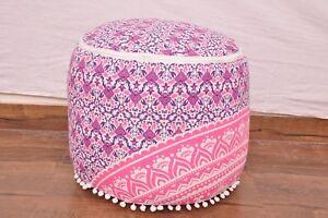 Indian Mandala Cotton Footstool Pouffe Cover Hippie Round Ottoman Pouf Cover Art