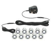 Set of 10 x 30mm IP44 WHITE LED Decking Deck Plinth Light Kit Lights Saxby Kios