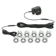 Set of 10 x 30mm IP44 WHITE LED Decking Deck Plinth Light Kit Lights Saxby Kios