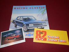1982 CHEVROLET MALIBU CLASSIC CATALOG + 82 CHEVY PAINT CHIPS BROCHURE & POSTCARD