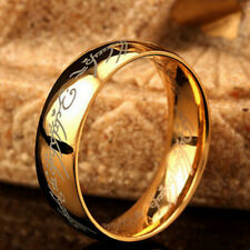 Hobbit Lord of the Rings Gold Silver Black Elvish Rune Engraving Ring Band Gift