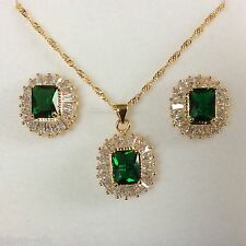 SET Green Emerald Sim Diamond Gold Filled Matching Necklace Earrings PlumUK BOXD