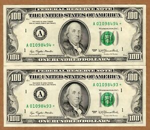 Fr. 2168-A* $100 1977 Federal Reserve Star Note AU 2 PCS RUNNING