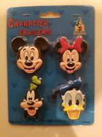 Vintage Walt Disney Character Erasers Mickey Mouse Minnie Goofy Donald Duck NOS