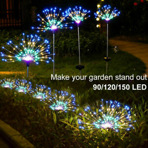 150/90 LED Solar Firework Lights Waterproof Outdoor Path Lawn Garden Lamp Decor