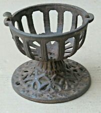 ANTIQUE CAST IRON CARVED STAND BOWL BYGONE ERA RELIGIOUS FIRE LIGHT HOLDING POT