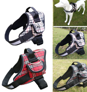 Dog Harness Tartan Plaid Collar Adjustable Padded Non Pull Security UK DH7