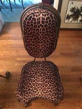 Pair of Vintage Leopard Velvet Side Chairs heavy gauge iron construction frame.